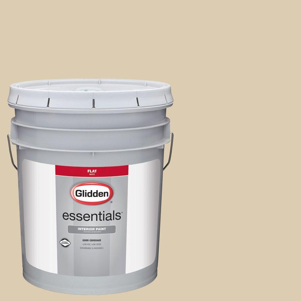 Glidden Essentials 5 Gal Hdgy50u Shy Gold Flat Interior Paint Products Interior Paint Exterior Paint Paint Primer