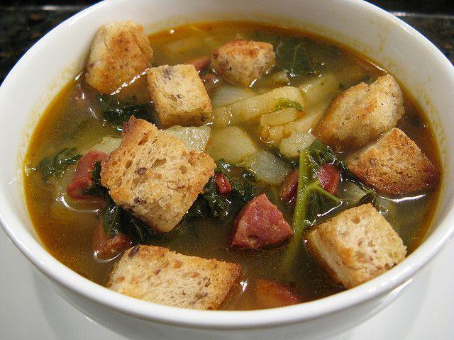 Potato soup with kale & chorizo by katbaro, via Flickr