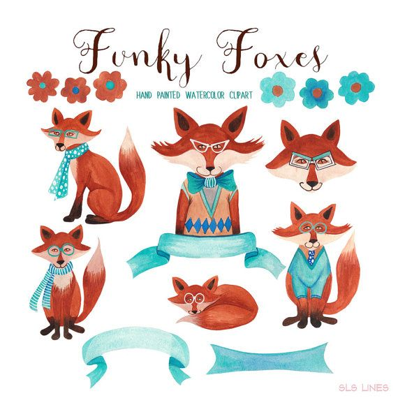 fox watercolor clipart trendy foxes graphics for commercial use rh pinterest com clip art of animals playing football clip art of animals for kids
