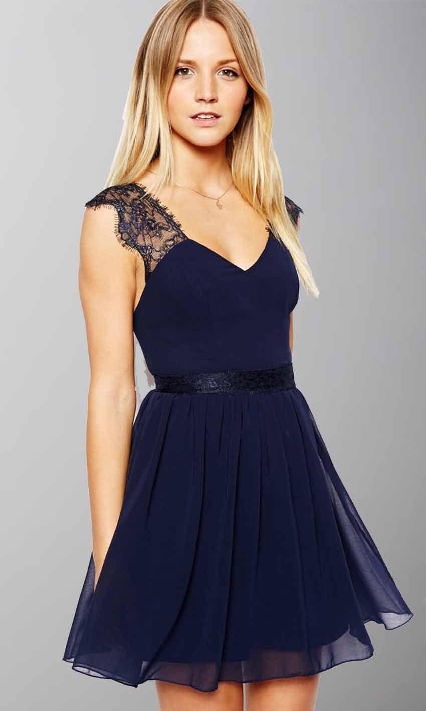 V neck lace dress uk online