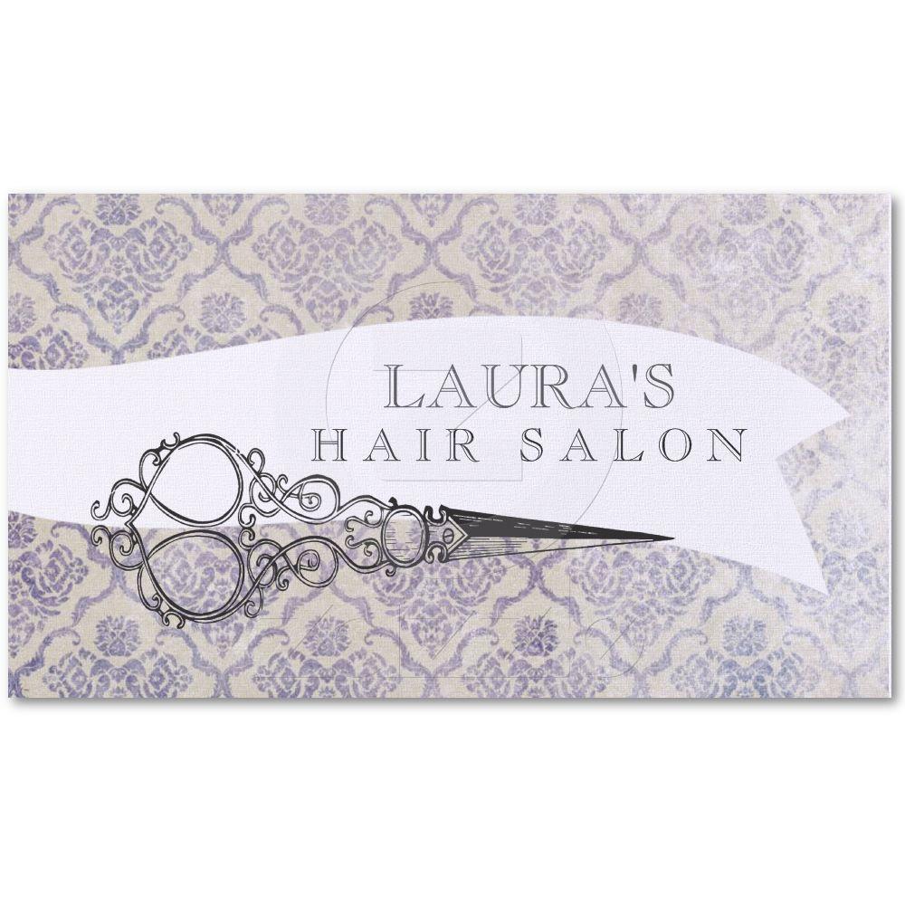 Vintage Ornate Scissors Hair Salon Business Cards | Scissors ...
