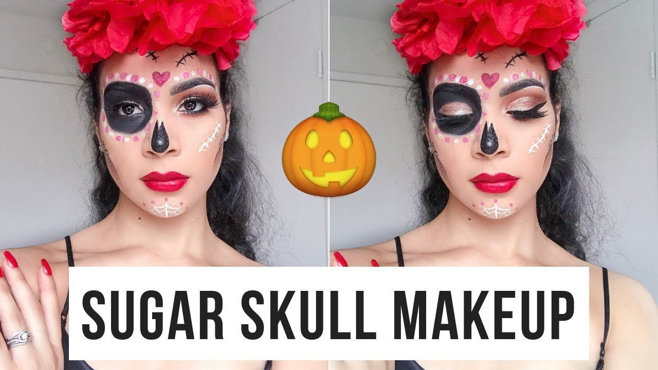 EASY SUGAR SKULL MAKEUP TUTORIAL ️🎃 halloween