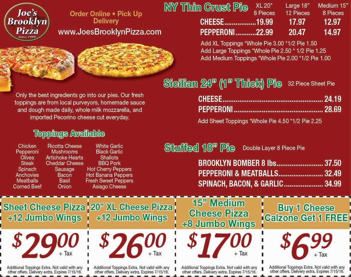joe u0027s brooklyn pizza www joesbrooklynpizza com rochester ny pizza