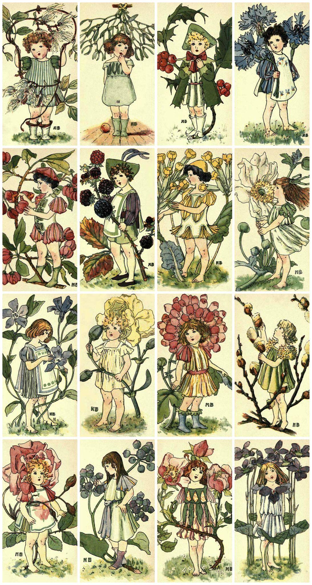 Victorian Flower Children Collage Sheet Printed Collage