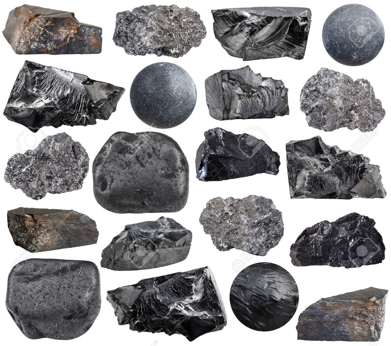 9a394d77a1 set of various carbon (anthracite, shungite, graphite, coal, jet lignite)  natural mineral stones, rocks and gemstones