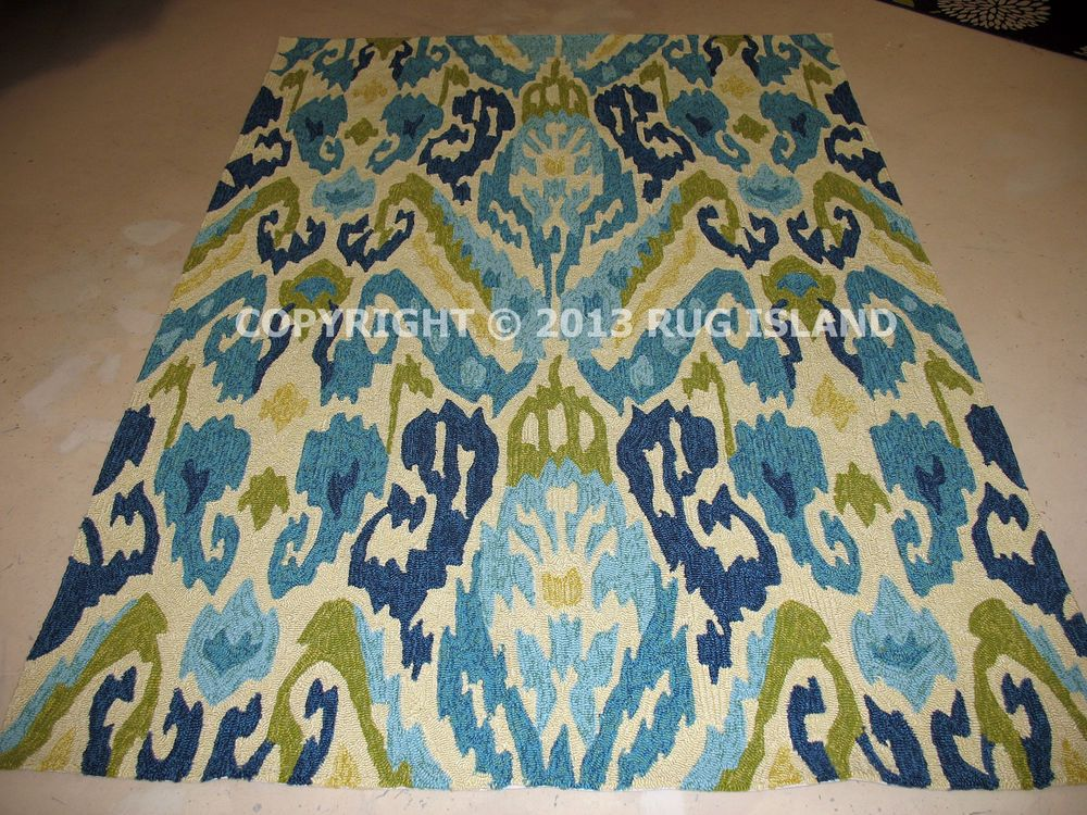 X Contemporary Abstract Indoor Outdoor Blue Green Area Rug