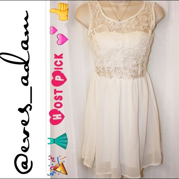 Mini White Crochet and Chiffon Dress This super cute mini and Flowy chiffon dress is perfect for cocktails with the girls or your best party dress. Features a padded bust, with button closure at the top and elastic waist. Condition is Brand New w/o tags. Size X Small. Local Boutique Dresses