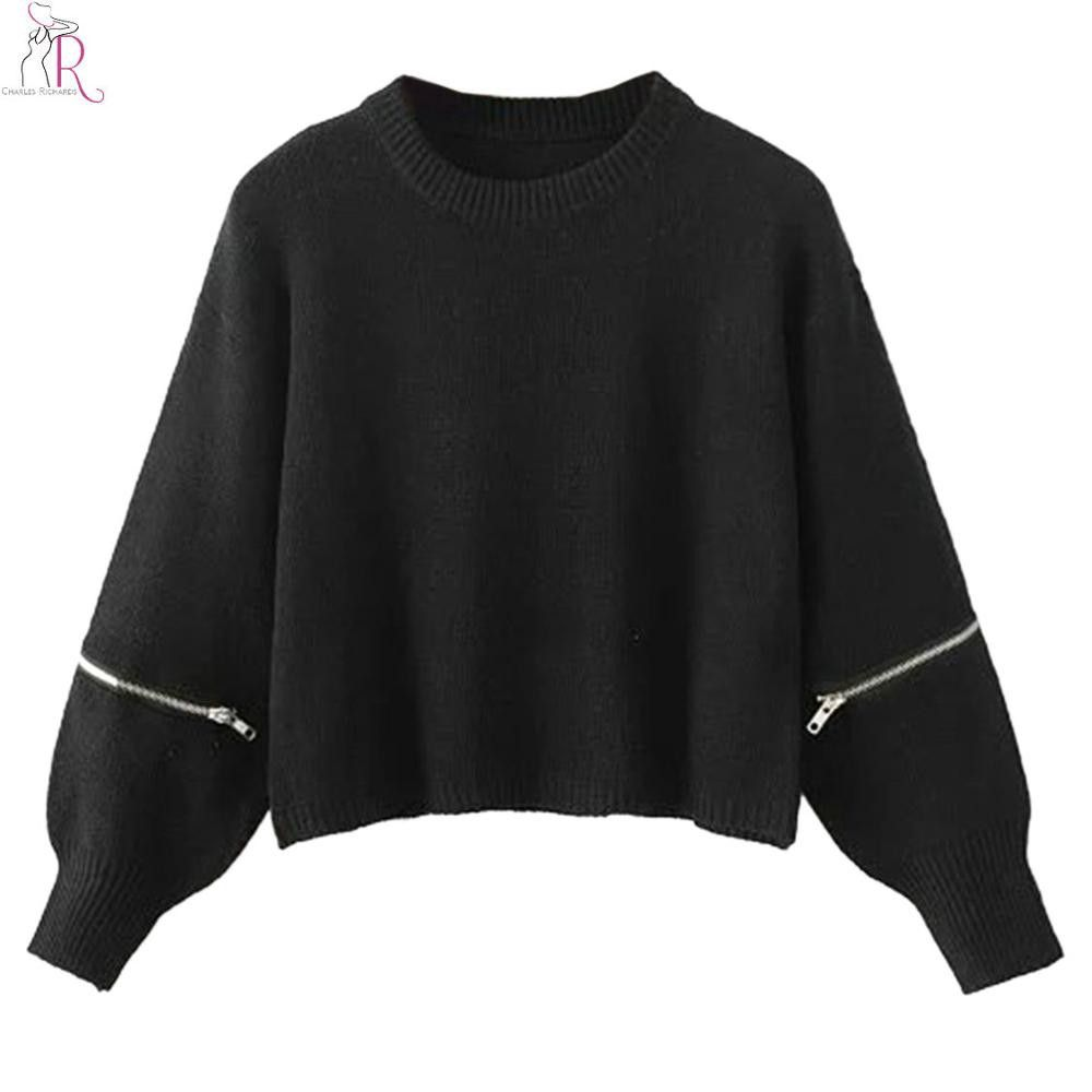 Black Zipper Long Sleeve Knitted Crop Top Short Sweater Pullover Jumper Loose Casual Oversized High Street Women Fall