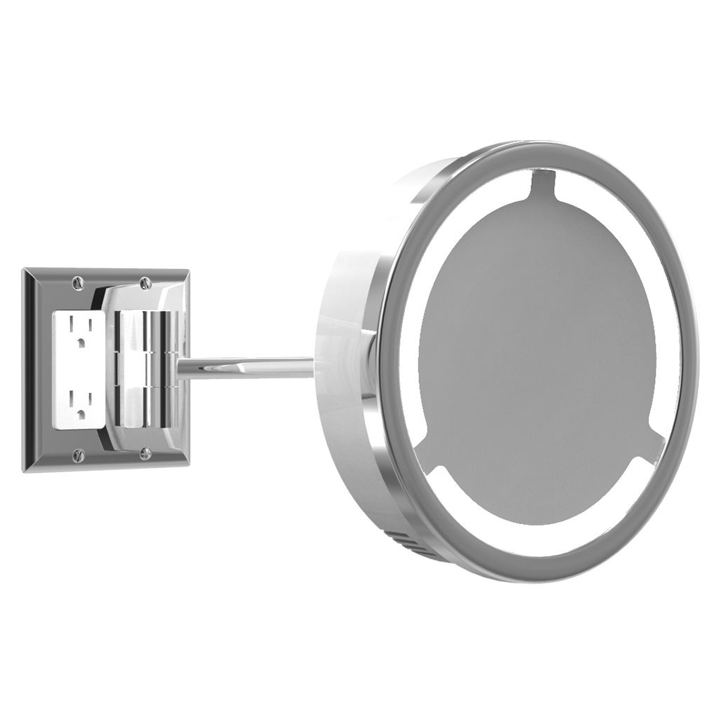 Bathroom Light With Outlet Single Arm Halo Light Wall Mirror W Outlet By Remcraft Lighting