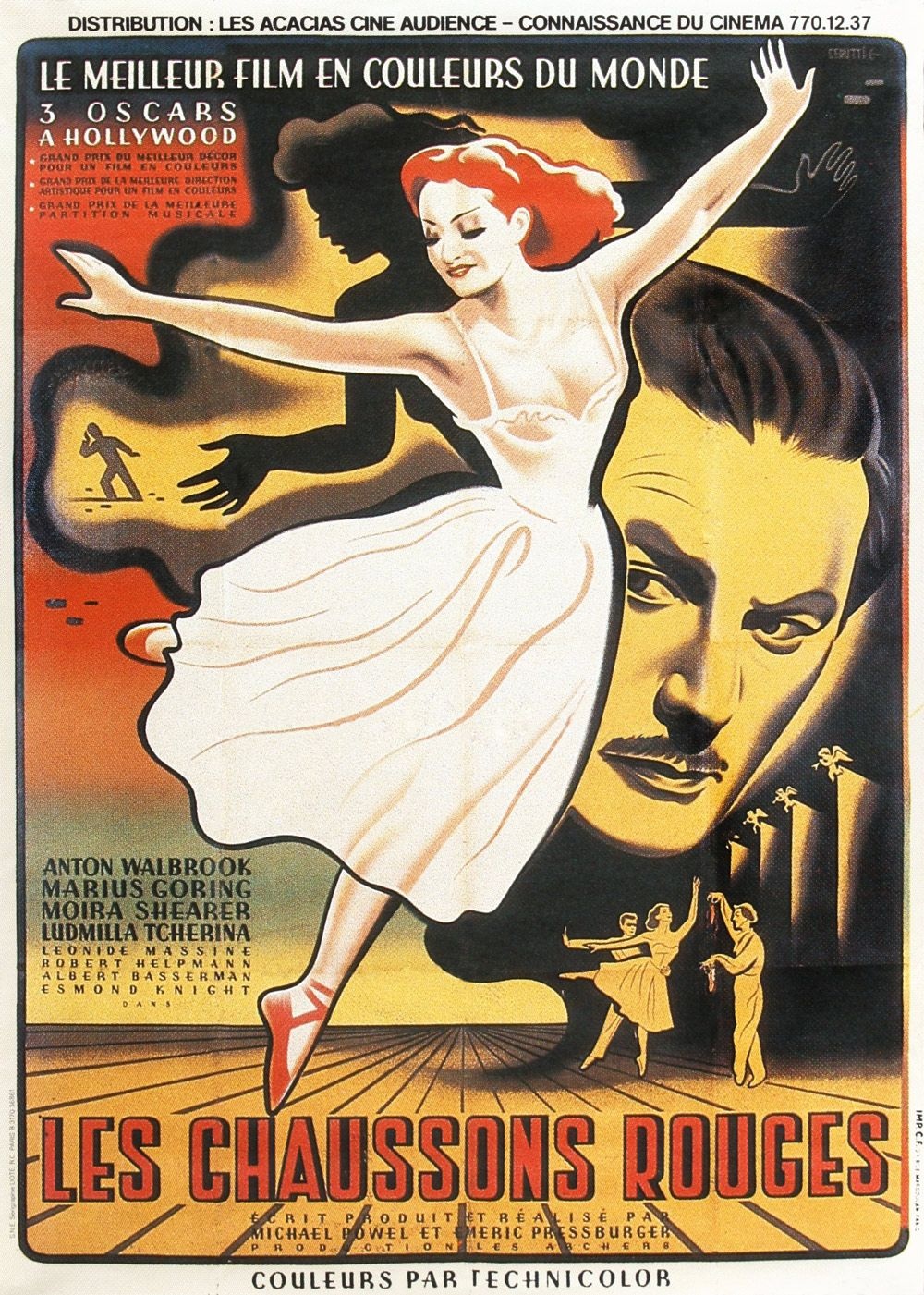 """French poster for """"The Red Shoes,"""" (1948) starring Moira Shearer, Anton Walbrook and Marius Goring. Directed by Michael Powell and Emeric Pressburger."""
