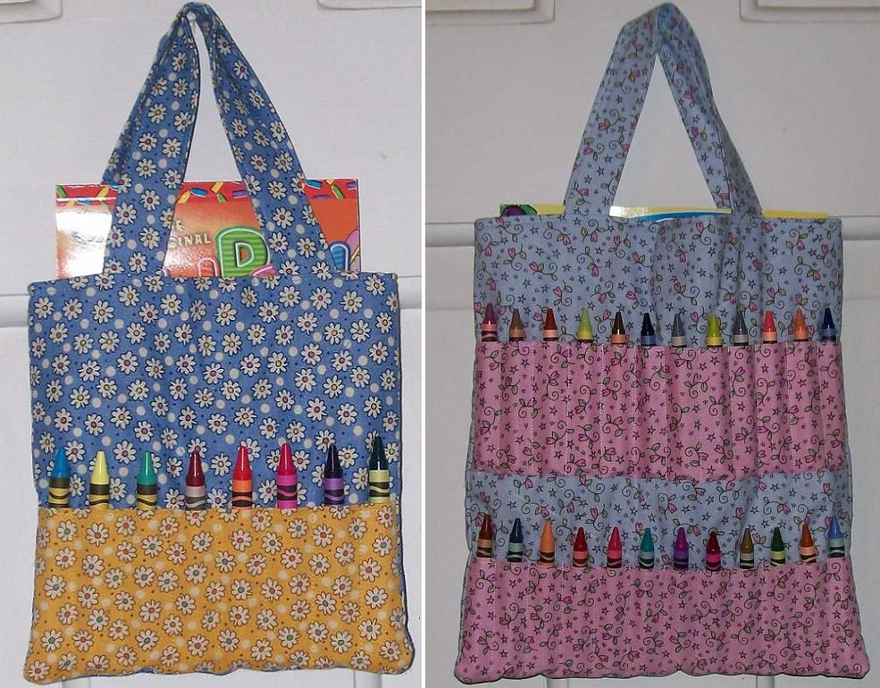 Crayon Tote Bag Patterns The Small Bag Holds 8 Crayons And A Fun Pad Sized Coloring Book Whi Quilted Tote Bags Patterns Tote Bags Sewing Quilted Tote Bags