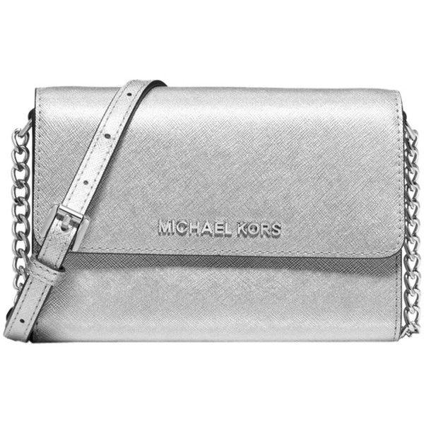 722c5ce0fff77 Pre-owned Michael Kors Jet Set Travel Metallic Silver Cross Body Bag ($138)  ❤ liked on Polyvore featuring bags, handbags, shoulder bags, silver, ...