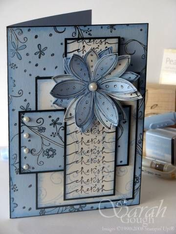 Really great challenges this week. I can't wait to get the new In Colours so I can do the original colour combo. The blue panels are wheeled, then sponged. Flowers coloured with Bashful Blue marker and swirls highlighted with the gel pen. The white panels are stamped in BB then sponged. The flower was stamped, sponged, then cut out, highlighted and curled. No ribbon on this one - it was busy enough already! I outlined the card in black pen to mimic my black layering. I can't seem to stop ...