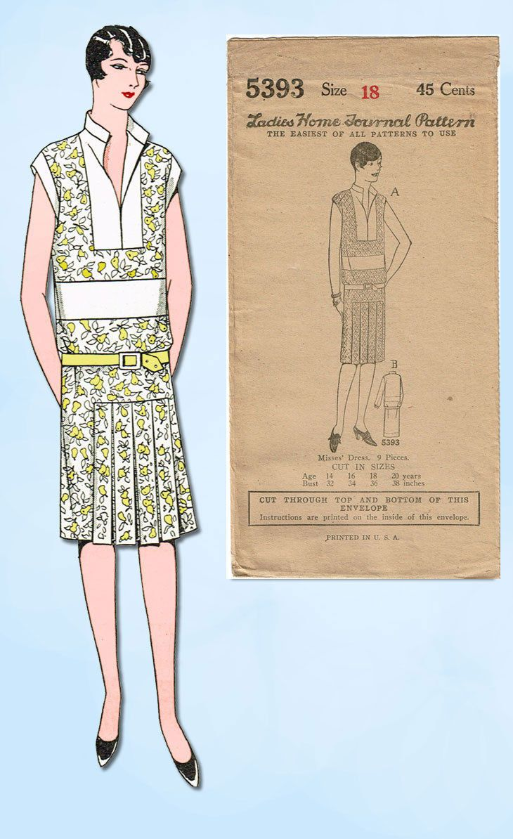c6398566b2bcb 1920s VTG Ladies Home Journal Sewing Pattern 5393 FF Misses Flapper Dress  Sz 36B in Collectibles, Sewing (1930-Now), Patterns, Women | eBay