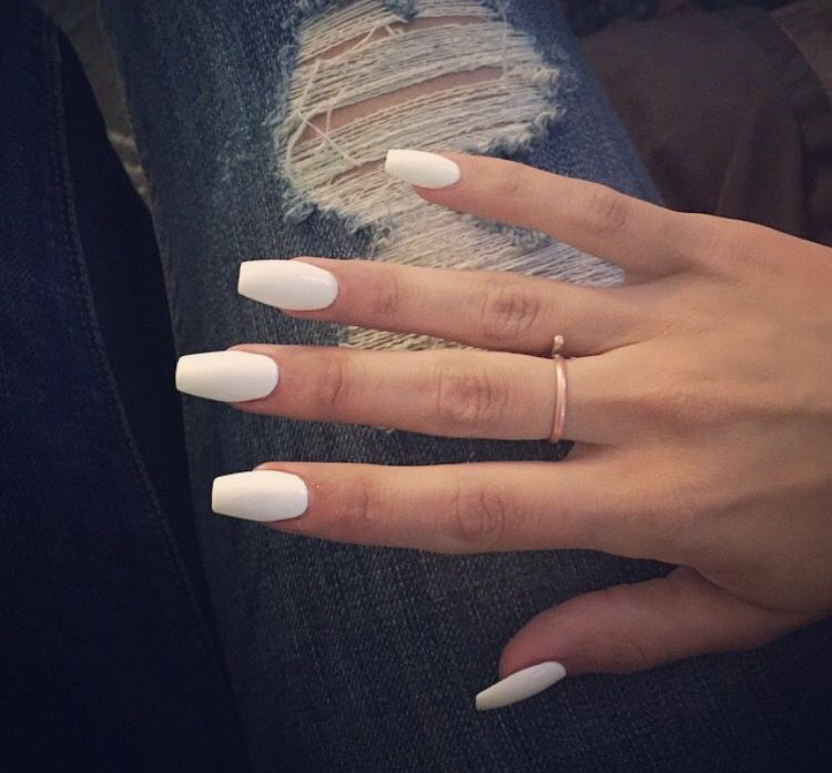 White Coffin Nails Fake Nails White Coffin Nails White Acrylic Nails
