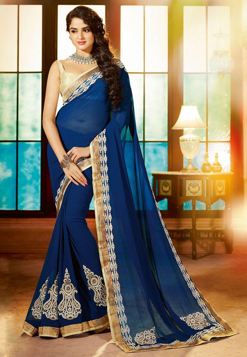 8174374b8f6860 Dark Blue Faux Georgette Saree with Blouse: SGA5418   Dresses ...