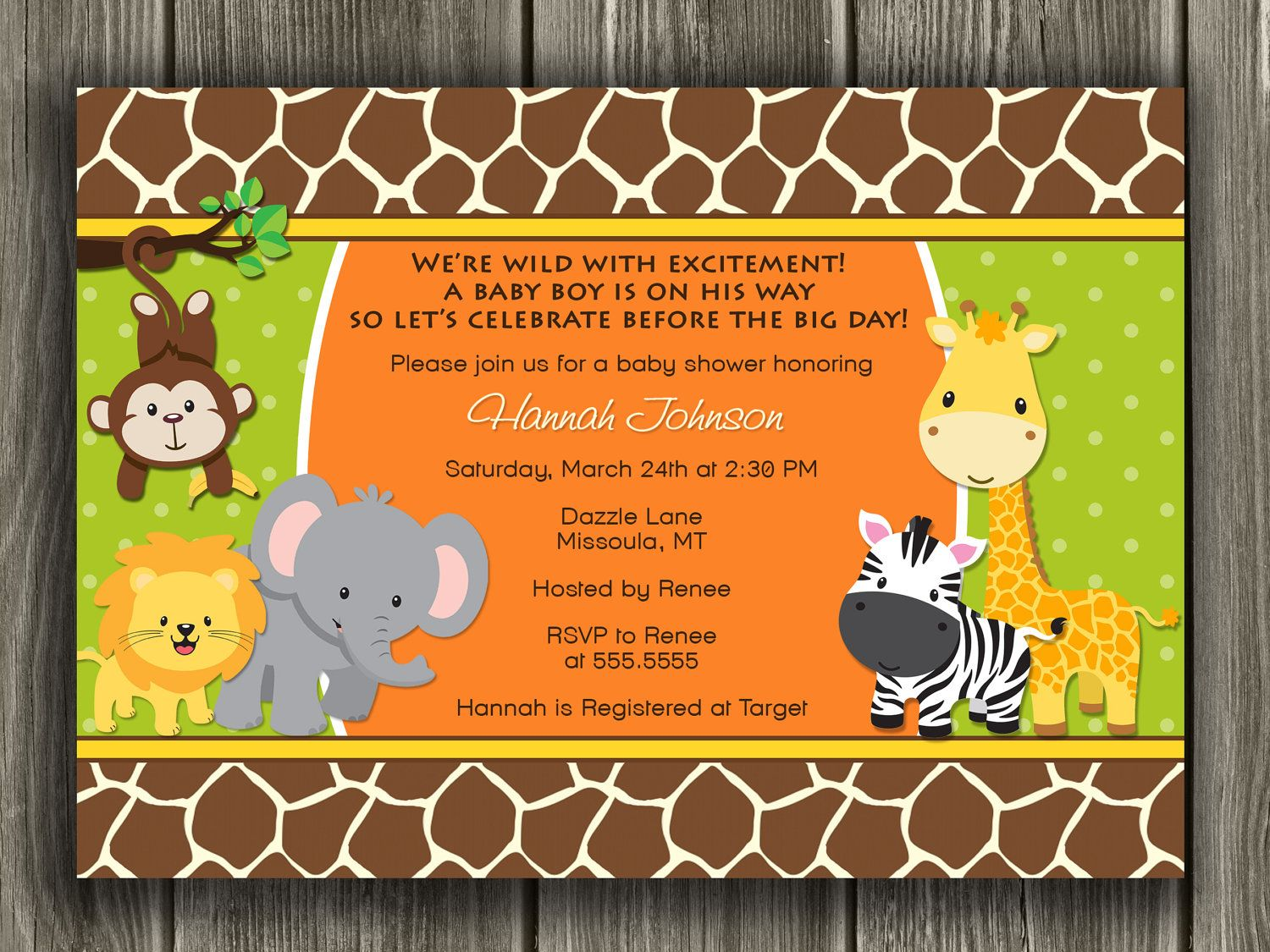 Jungle Baby Shower Invitation - FREE thank you card included. $12.00 ...