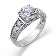 Simon G Side Stone 18k - White Gold Diamond Engagement Ring