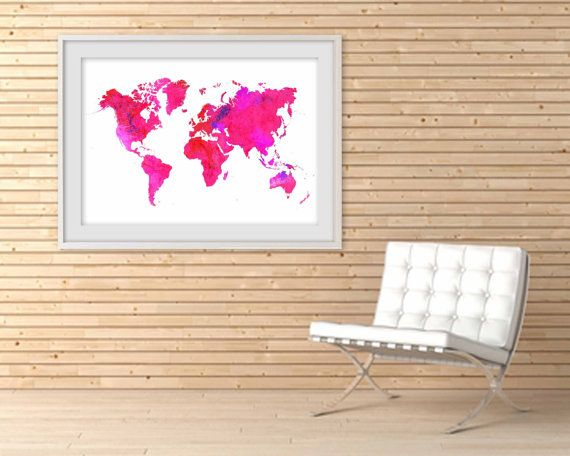 World map poster huge sizes a2 a1 a0 neon pinks adventure print world map poster huge sizes a2 a1 a0 neon pinks adventure print for gumiabroncs Images