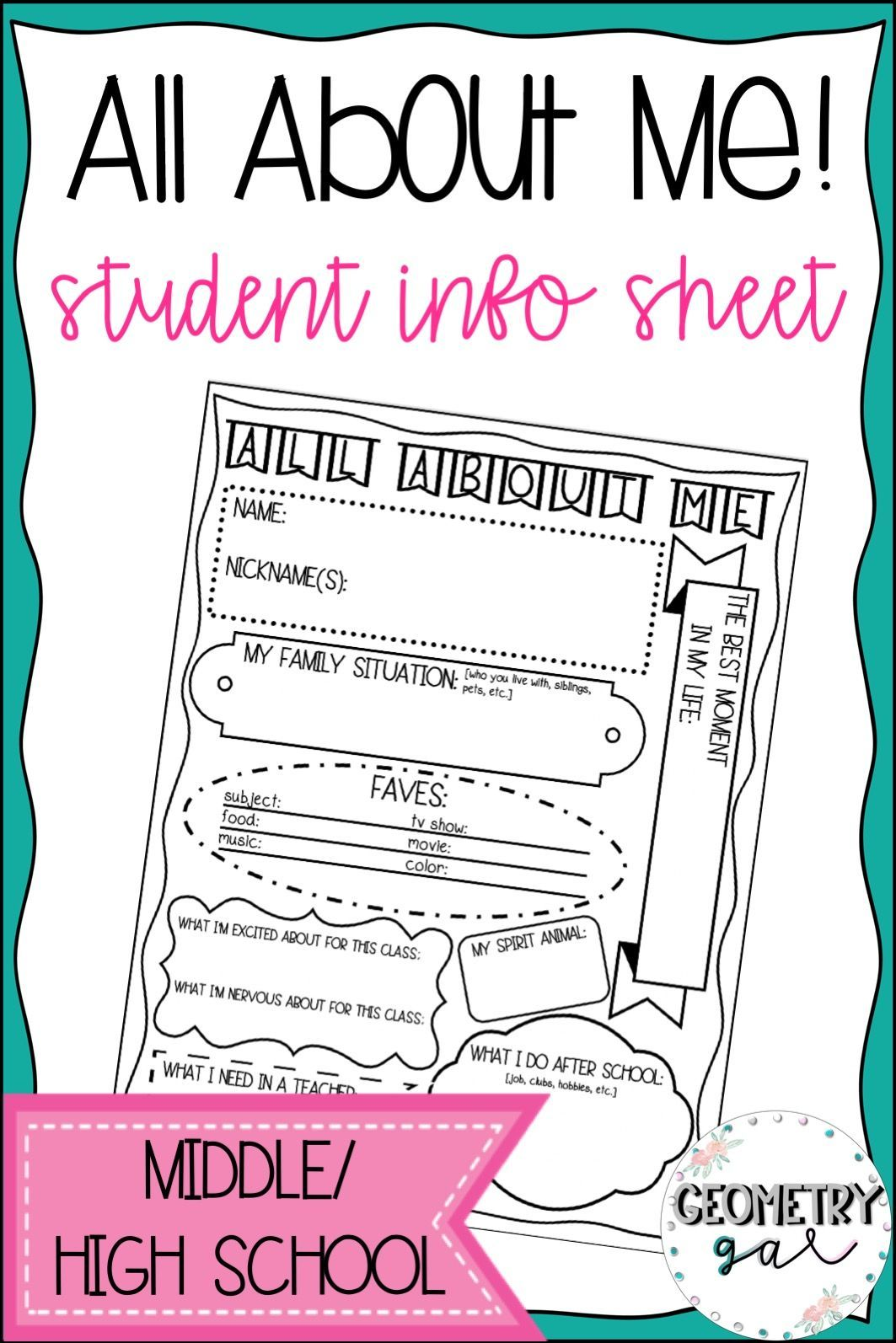 Student Info Sheet All About Me Student info, Student