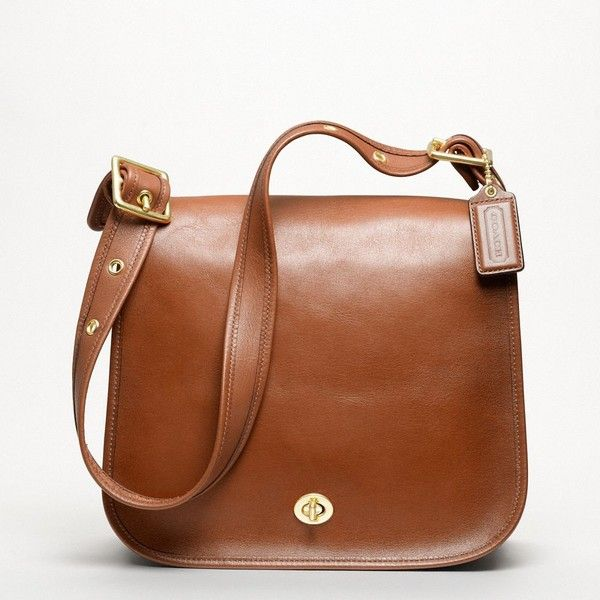 Coach Classic Leather Stewardess Bag ($358) ❤ liked on Polyvore