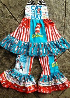 Cat in The Hat3m to 8y2 piece dress and Pant set