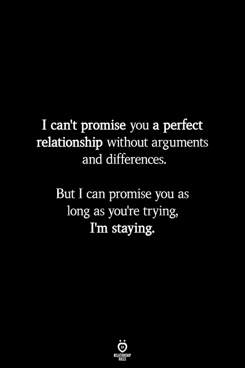 I Can't Promise You A Perfect Relationship Without Arguments And Differences