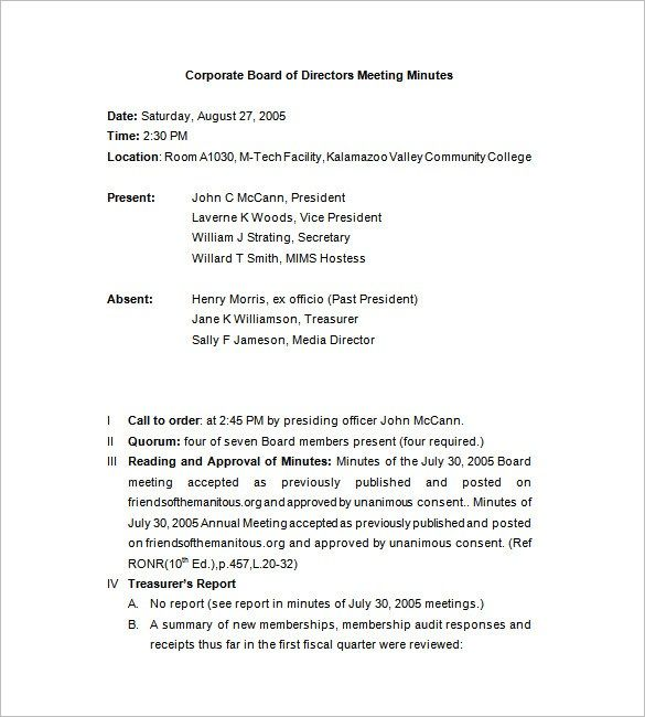 Corporate Meeting Minutes Templates  Minutes Templates