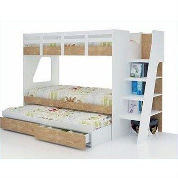 Milky Single Bunk Bed With Trundle And Storage Kids Room