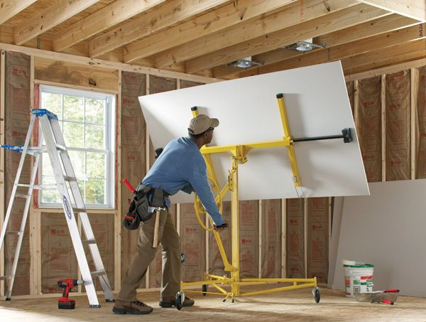 A Drywall Lifter Will Help You Set And Hold Large Sheets Of Drywall In Place On Your Wall Or Ceiling It S Ideal Home Improvement Home Renovation Renting Ideas