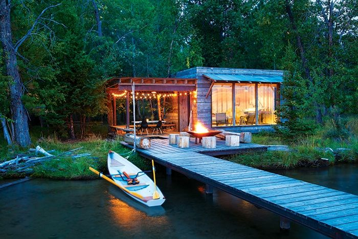 A Hideaway On The Shore Of Flathead Lake Mountain Living Lakeside Cabin Rustic Exterior Rustic Cabin