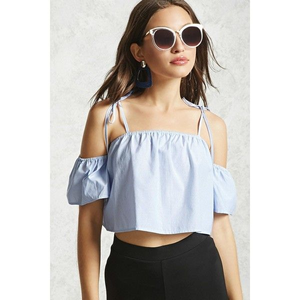 buying now buying new outlet for sale Forever21 Open-Shoulder Crop Top ($15) ❤ liked on Polyvore ...