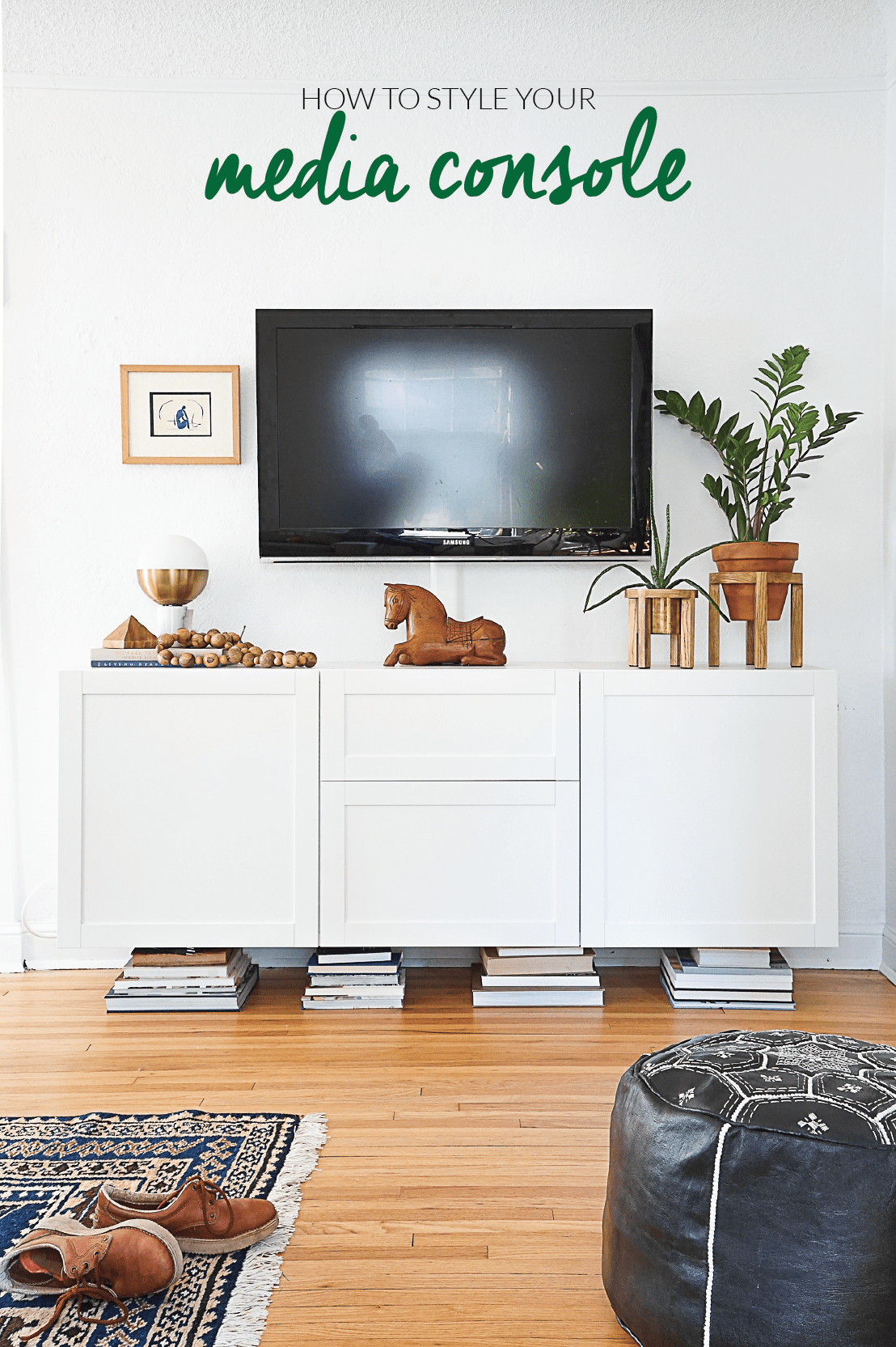 Home interior design tv console how to style your media console  wall decoration  pinterest