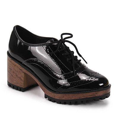 75953f534 Sapato Oxford Feminino Moleca - Preto | sapatos | Sapatos oxford ...