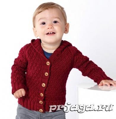 Детская кофточка спицами с капюшоном | вязание мальчикам | Pinterest