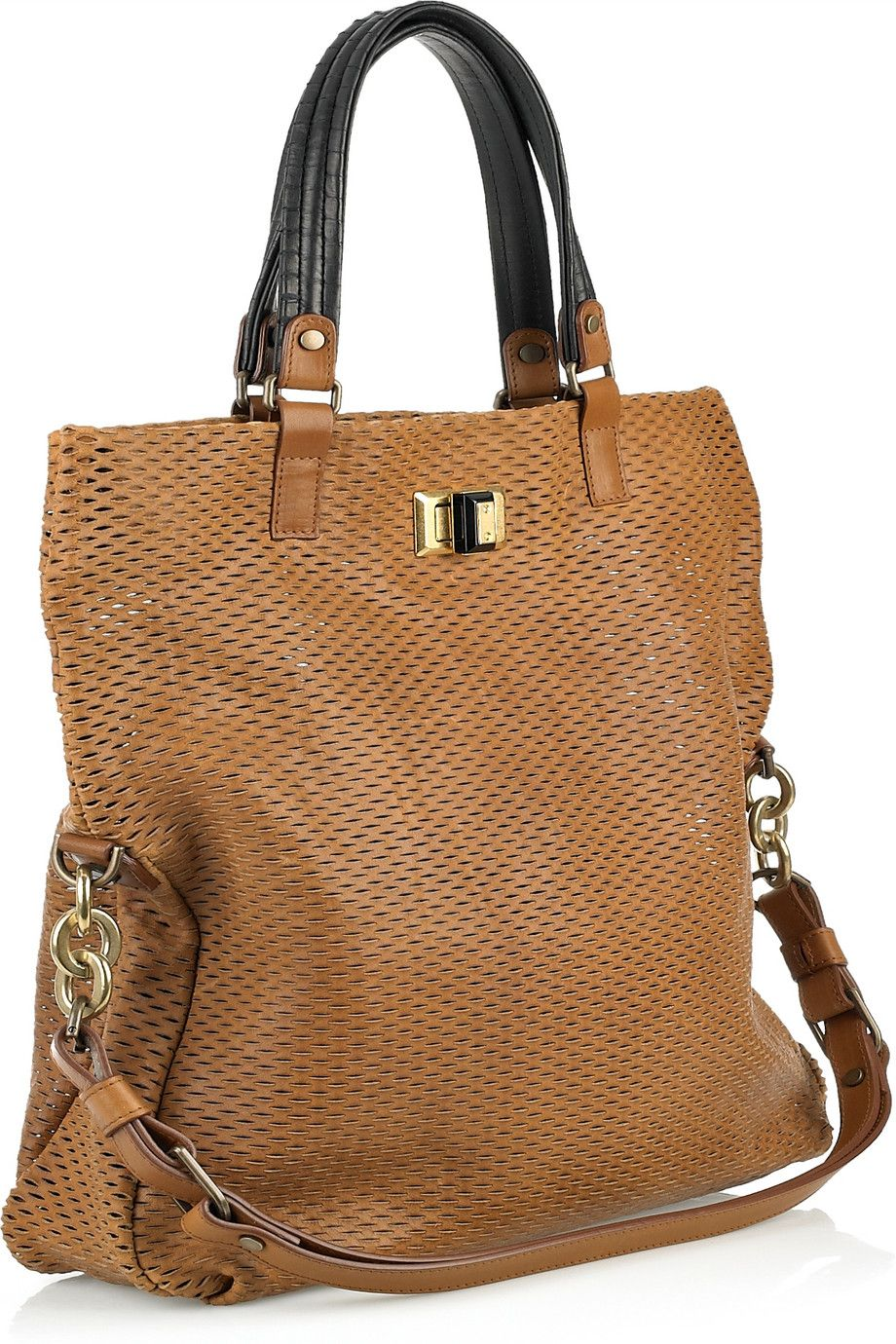 Lanvin - Reflex Shopping leather and python tote