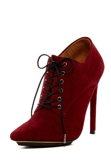 Burgundy Lace-Up Bootie