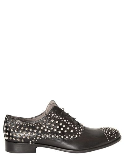 Giacomorelli - Studded Calfskin Lace-Up Shoes