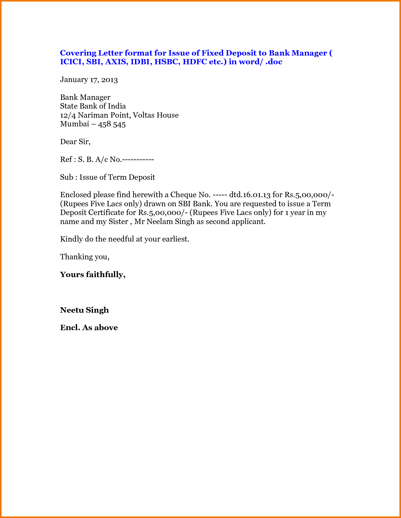 Formal Letter For Manager Financial Statement Form Bank The