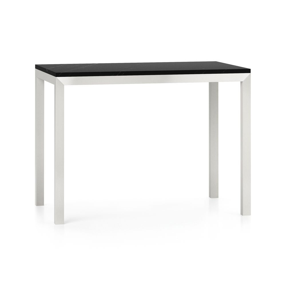 Parsons black marble top stainless steel base x high dining
