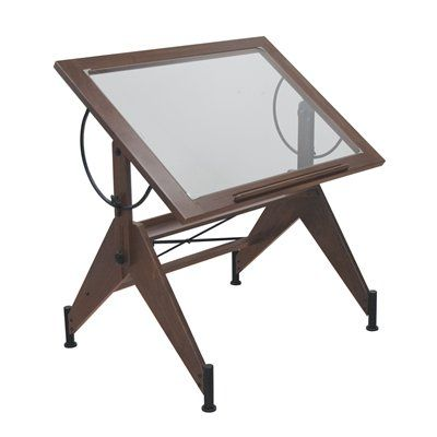 $185.97 TheMine.co  Studio Designs 13310 Aries Glass Top Drafting Table