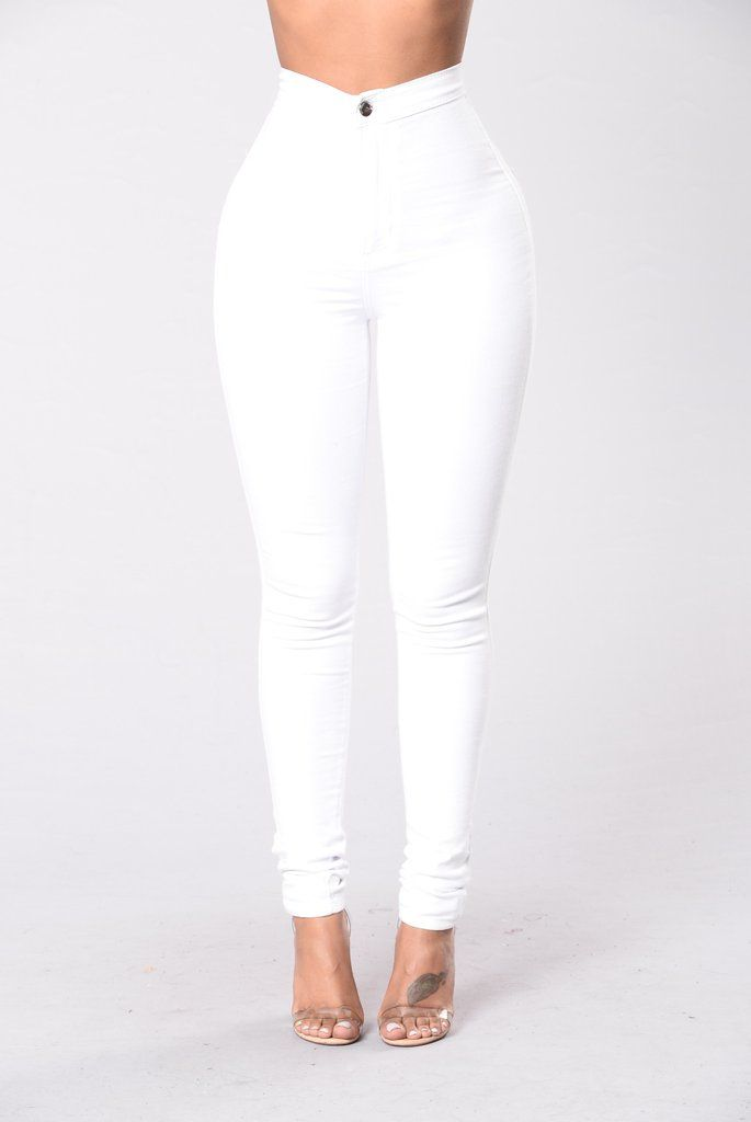 f34bf722a6df Super High Waist Denim Skinnies - White Jean Blanc Moulant