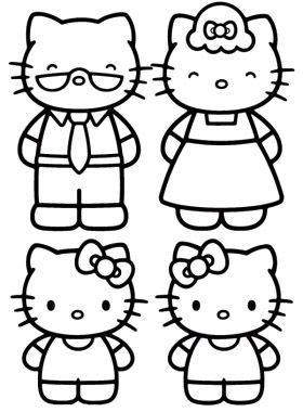 3d coloring pages by hello kids | The Hello Kitty Family Coloring Page | Hello kitty ...