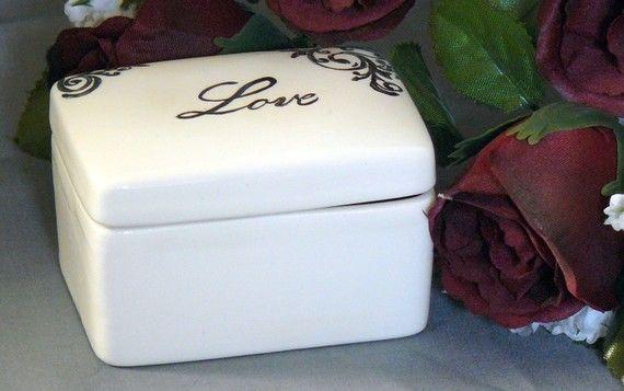 Ceramic Love Keepsake Box by GrapeVineCeramicsGft on Etsy, $15.00