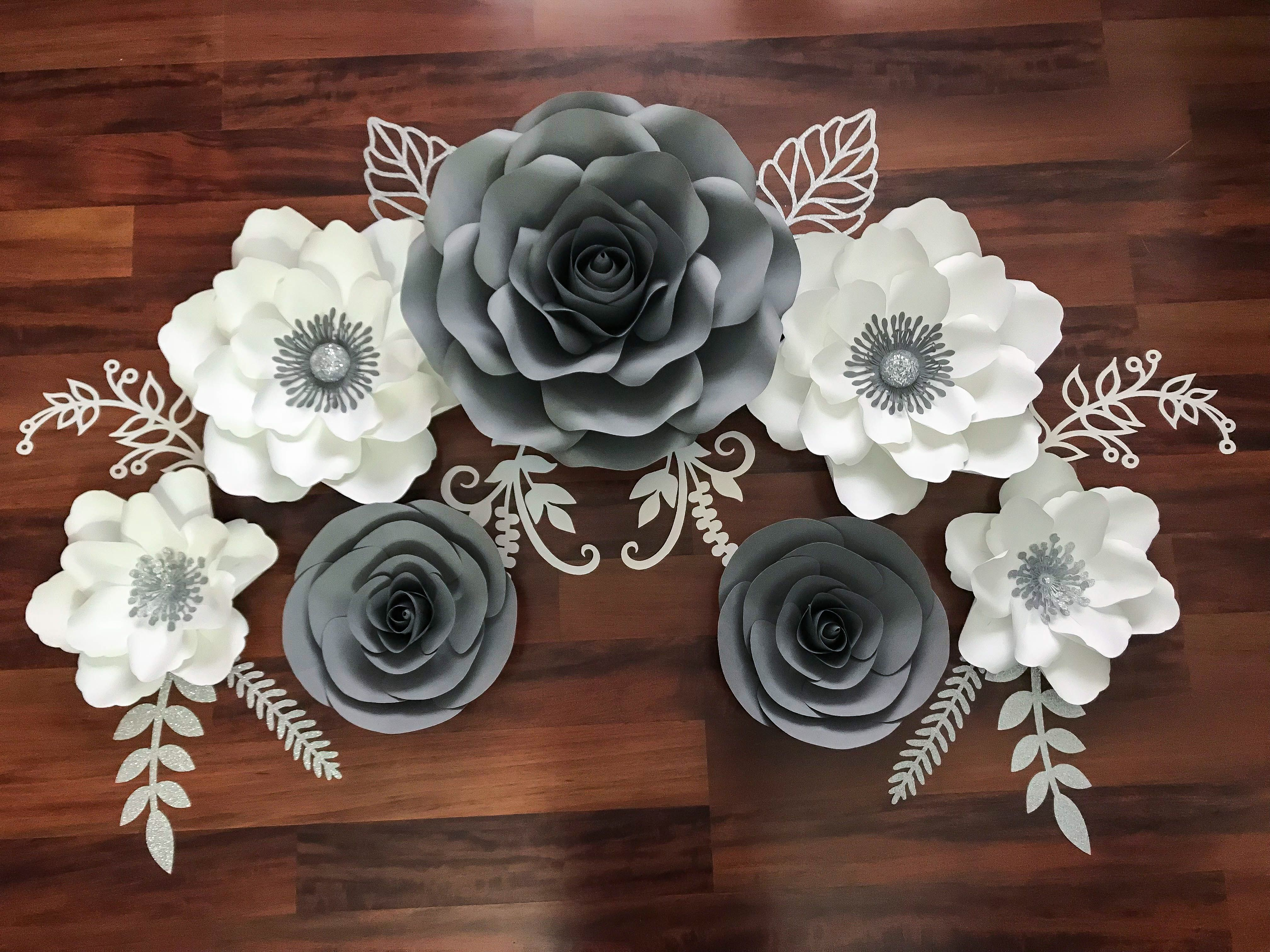Grey White And Silver Paper Flower Set For Housewarming Party