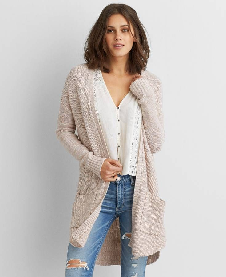 AEO Long Pocket Cardigan, Women's, Light Pink | *Clothing ...