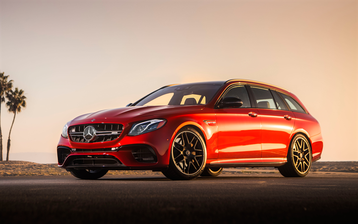 Download Wallpapers Mercedes Amg E63 S Wagon 2018 4k Red Station