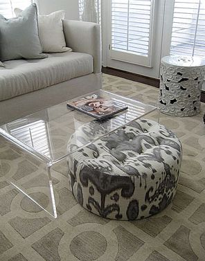 Ikat Ottoman And Lucite Cocktail Table By Lisa Sherry Interieurs Inc.