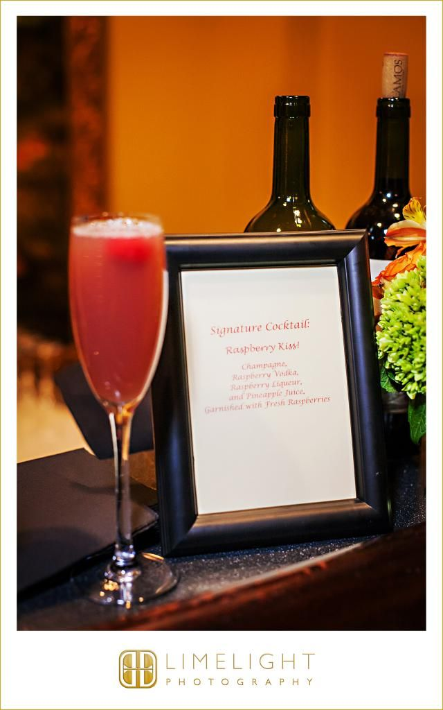 CASA MONICA, Florida, champagne, signature cocktails, cocktails, raspberry, bar details, bar signs, wedding photography, Limelight Photography, www.stepintothelimelight.com