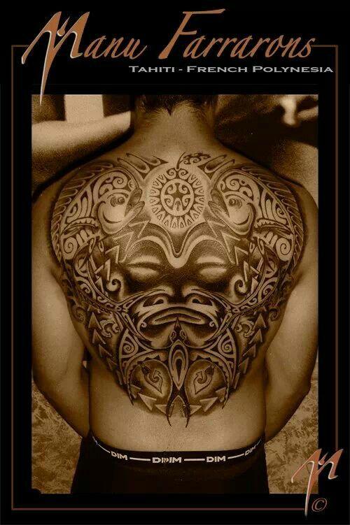 Tahitian back tattoo
